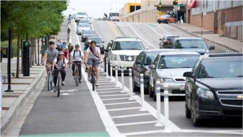 Bicycle Lane Separated by Buffer and Physical Barriers