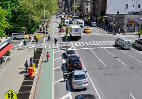 Bike Lane between parked cars and sidewalk